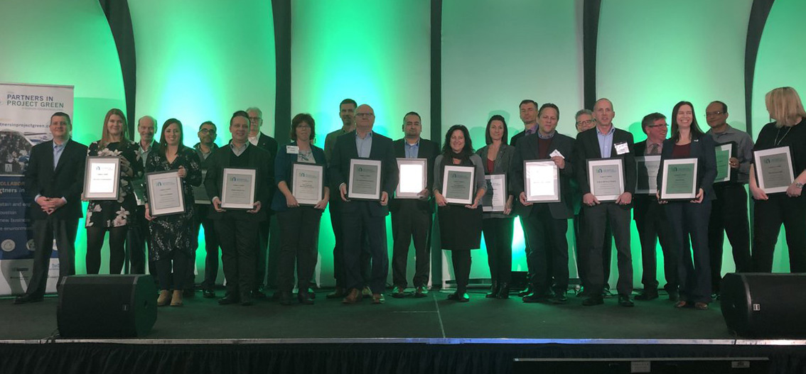 sustainable business awards recipients at Partners in Project Green anniversary celebration event