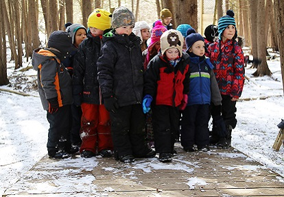 Children at Claremont Nature Centre Wilderness Survival March Break Camp