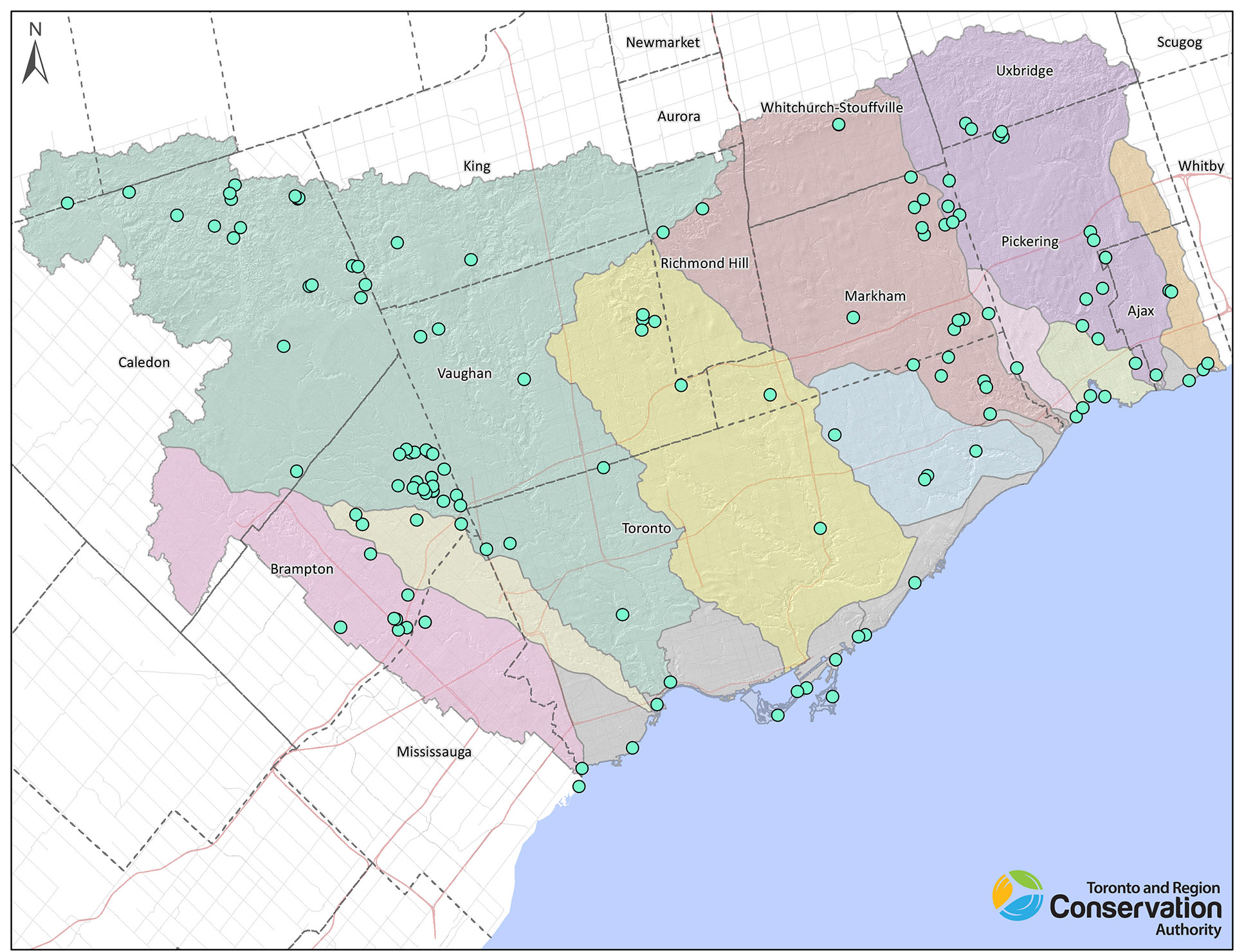 TRCA restoration projects map