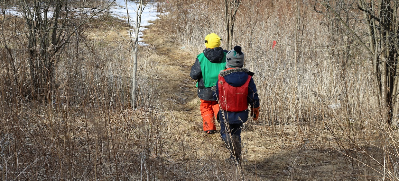boys explore forest trail at Claremont Nature Centre