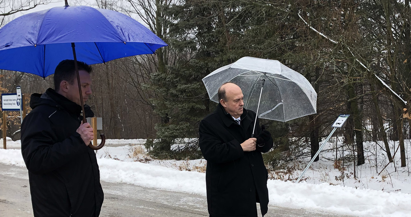 Hon. Michael Tibollo tours Kortright Centre with TRCA CEO John MacKenzie