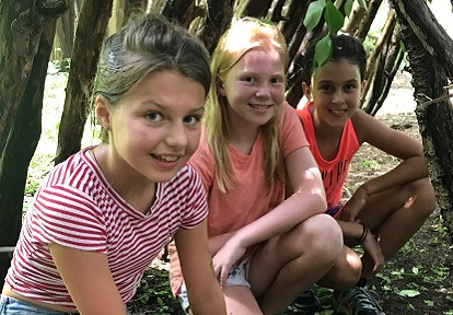 children at overnight summer camp at Claremont Nature Center
