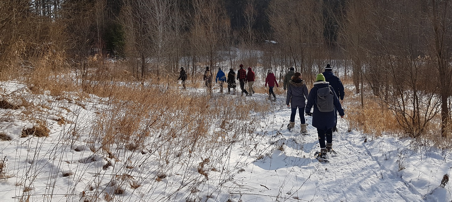 adult learning group snowshoeing at Albion Hills Field Centre