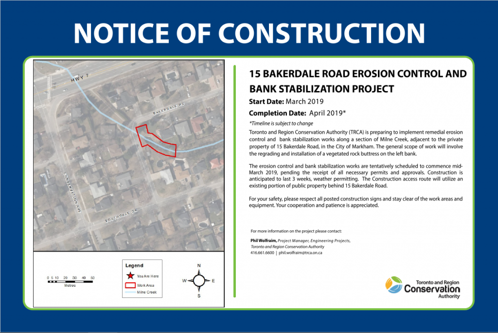 Image of Notice of Construction signage for the 15 Bakerdale Road Erosion Control and Bank Stabilization Project.