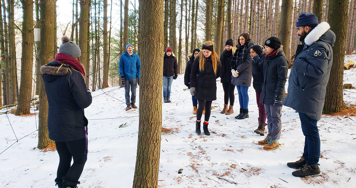 members of TRCA Youth Council Executive outdoors in the snow at Albion Hills Field Centre
