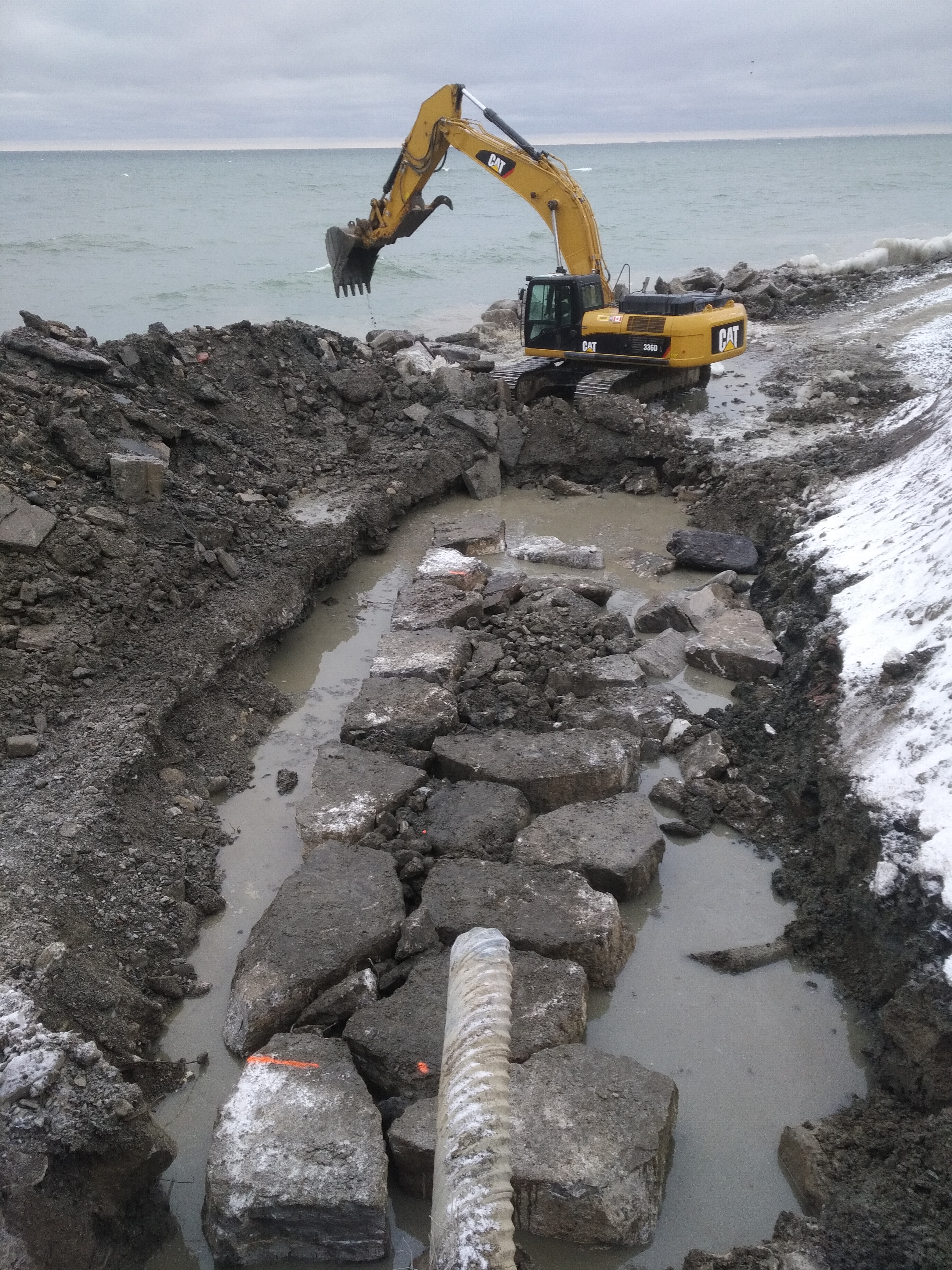 Excavated and exposed stormwater drain pipe. Source: TRCA, 2019