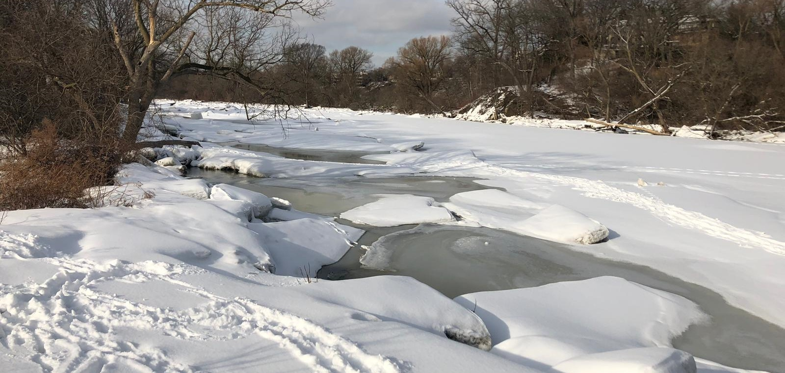 ice jam on Humber River near Old Mill poses spring safety hazard