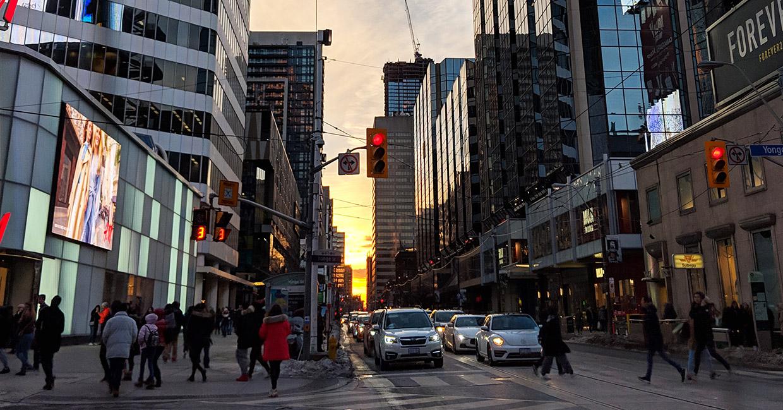 Yonge Dundas intersection in Toronto at sunset