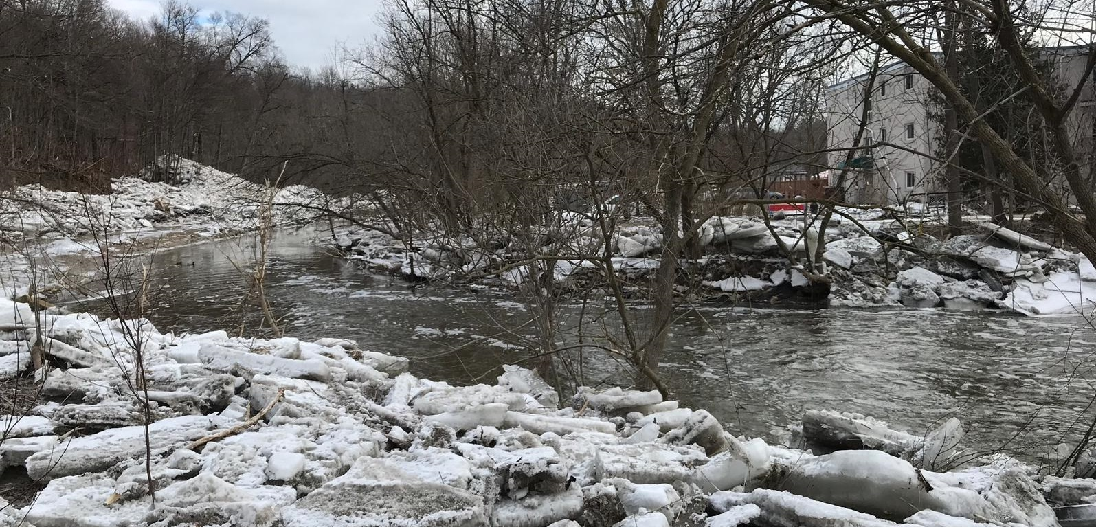 image after flood event in Bolton shows Humber River clear of ice