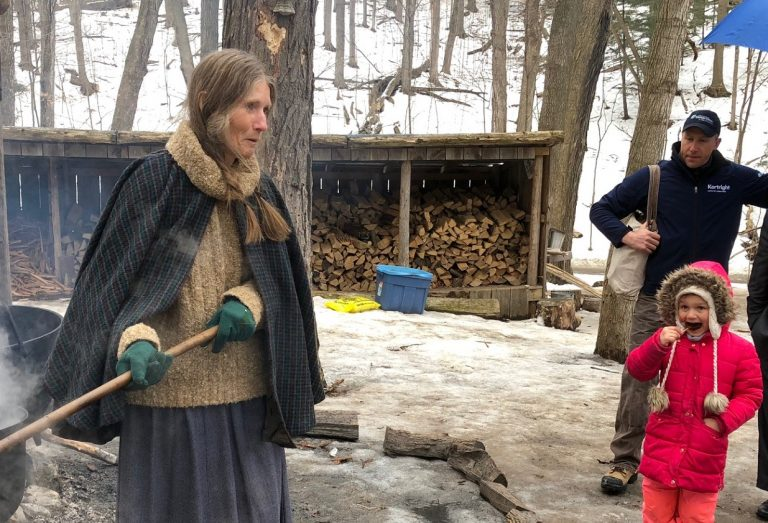 Minister Michael Tibollo enjoys maple syrup making demonstration at Kortright Centre