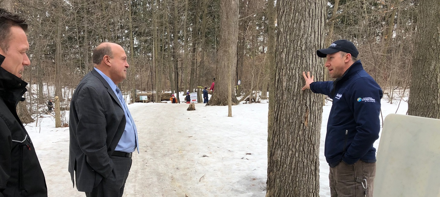 Minister Michael Tibollo tours Sugarbush Maple Syrup Festival at Kortright