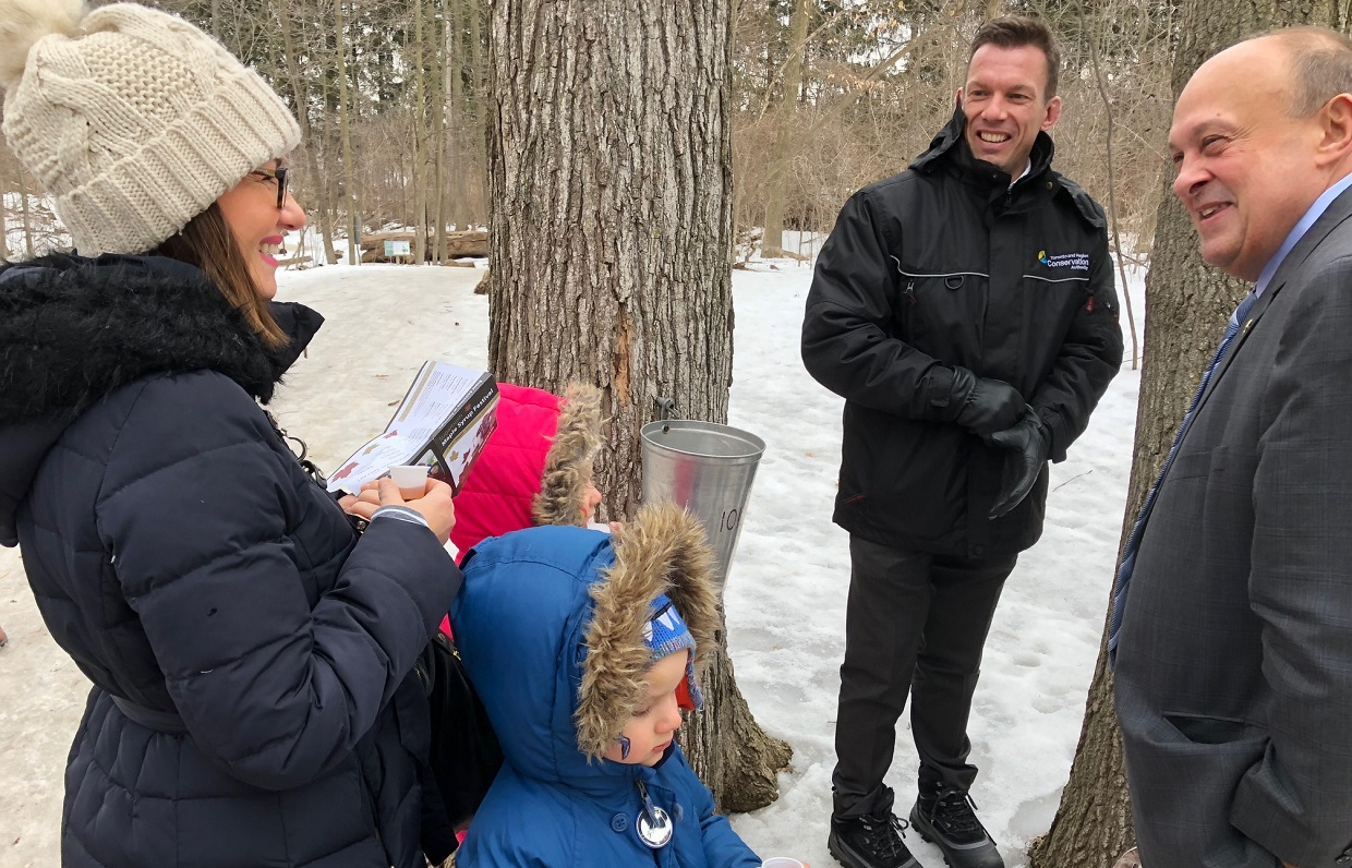 Minister Michael Tibollo engages with constituents at Sugarbush Maple Syrup Festival