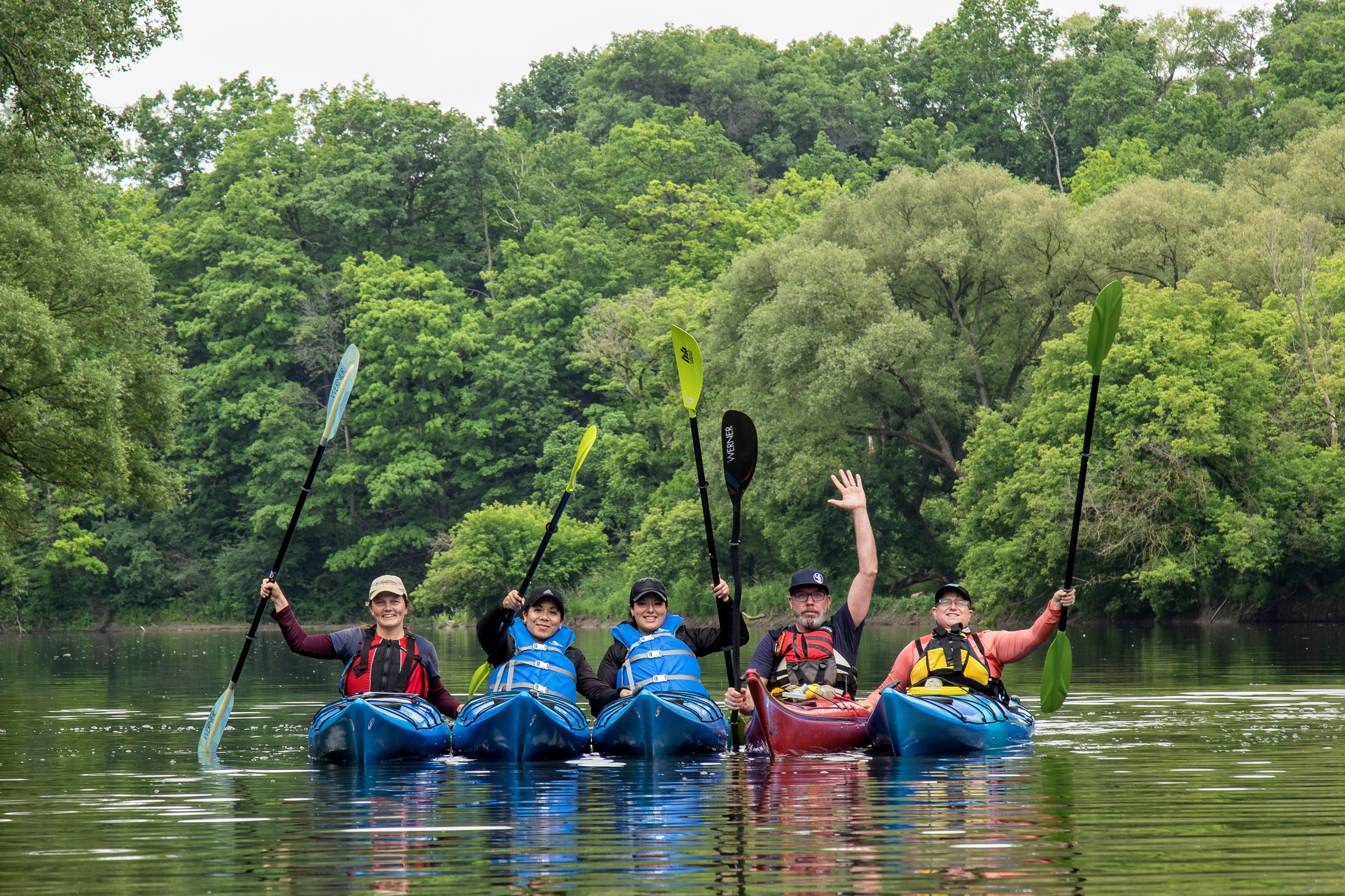 Kayaks and canoes on the Humber River