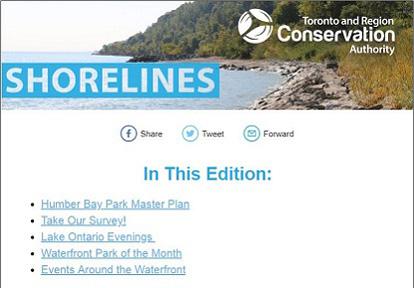 TRCA Shorelines email newsletter