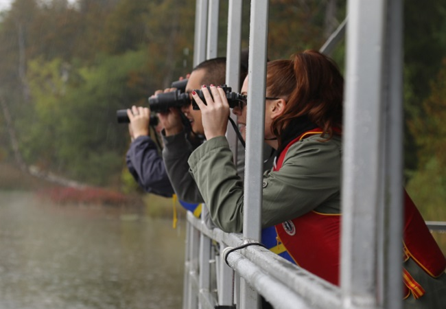 bird watchers at Lake St George field centre