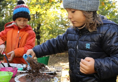 children take part in Early Years Forest Play program at Lake St George Field Centre