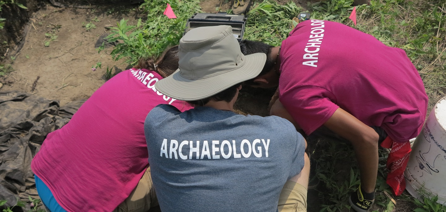 students participate in dig during Boyd Archaeological Field School