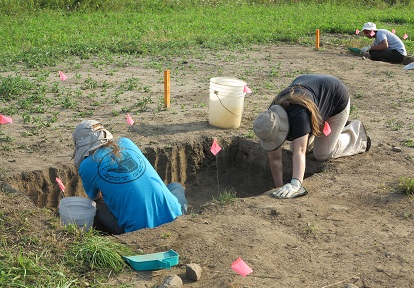 students at excavation site during Boyd Archaeological Field School