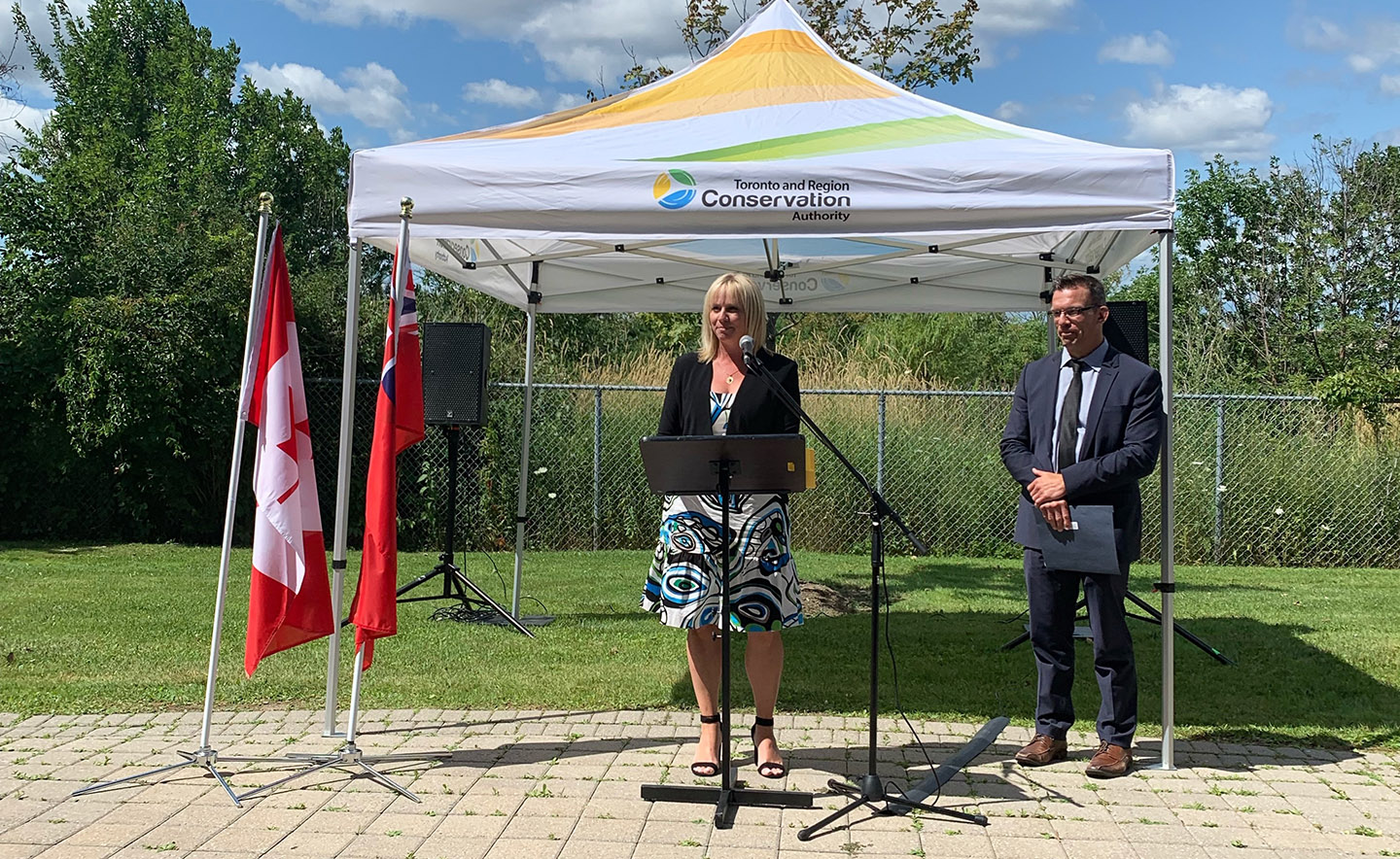 Jennifer Innis at announcement of natural resources Canada funding for TRCA mass timber office building