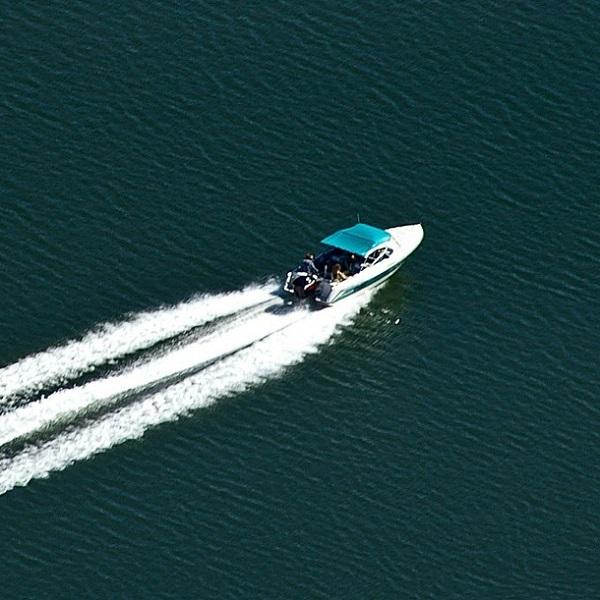 power boat on lake