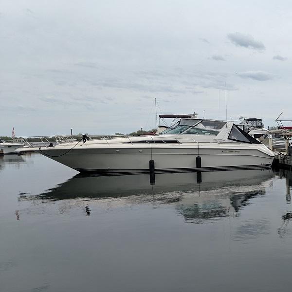 power boat at marina