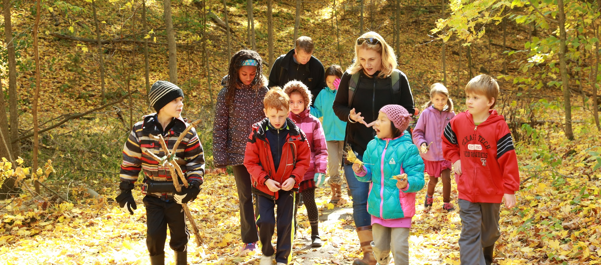 children and parents at fall day camp
