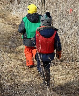 boys explore winter trail at Claremont Nature Centre