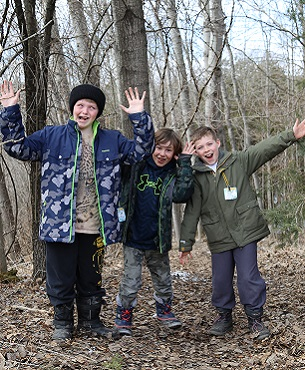 boys clowning on forest trail at Claremont Nature Centre