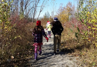 children explore nature trail at Tommy Thompson Park