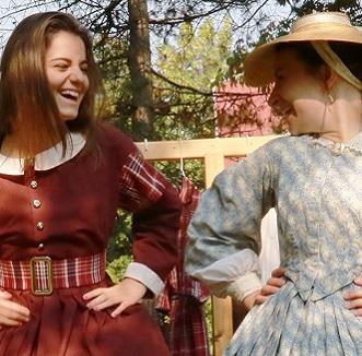 teenage girl and history actor model Victorian era dresses at Black Creek Village