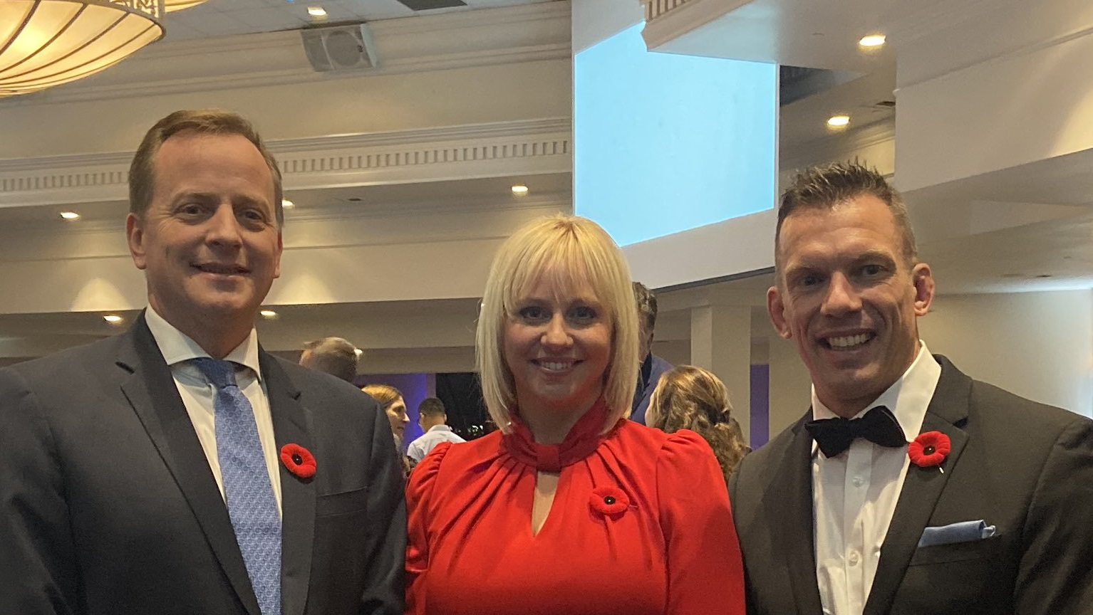Minister of Environment Conservation and Parks Jeff Yurek with TRCA Chair Jennifer Innis and TRCA CEO John MacKenzie celebrate environmental leaders at Living City Dinner
