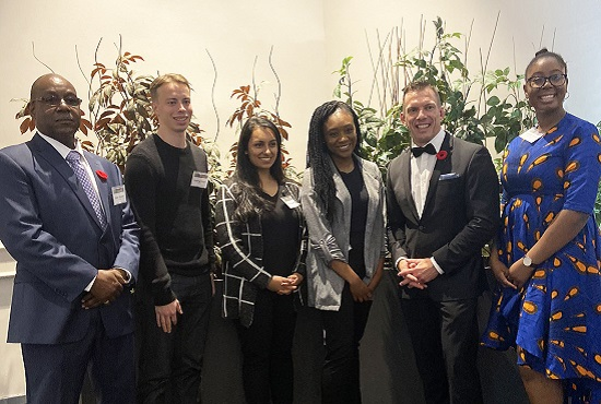 Toronto and Region Conservation Foundation interim executive director Derek Edwards and TRCA CEO John MacKenzie with 2019 scholarship winners at Living City Dinner