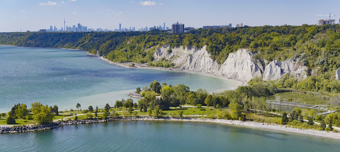 view of Scarborough Bluffs looking westward