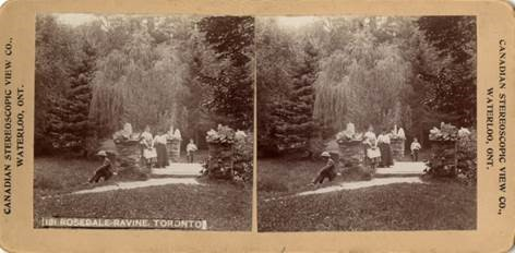 1900 stereoscopic photo of the historic bridge located within the project site. Source: Lorraine Tinsley, 2019.