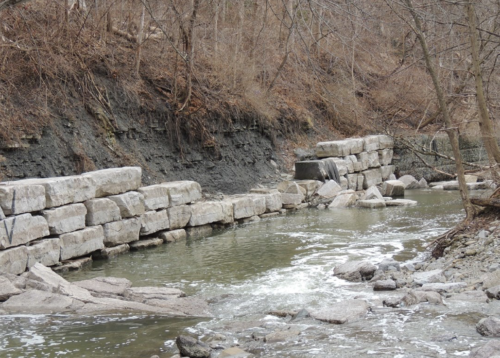 Visible bank erosion by the side of Mimico Creek in Toronto