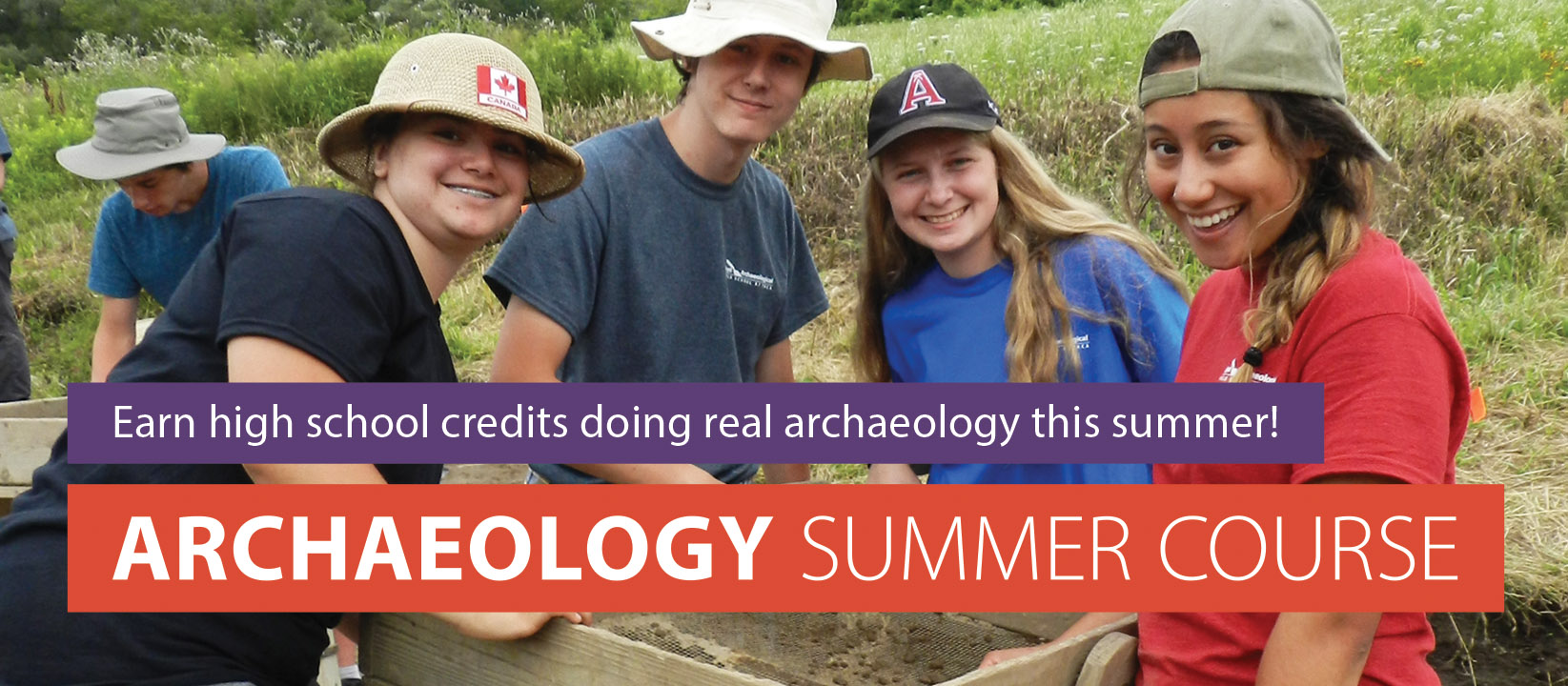 Boyd Archaeological Field School students at dig site