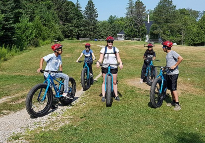 campers learn to ride bicycles at Albion Hills Field Centre