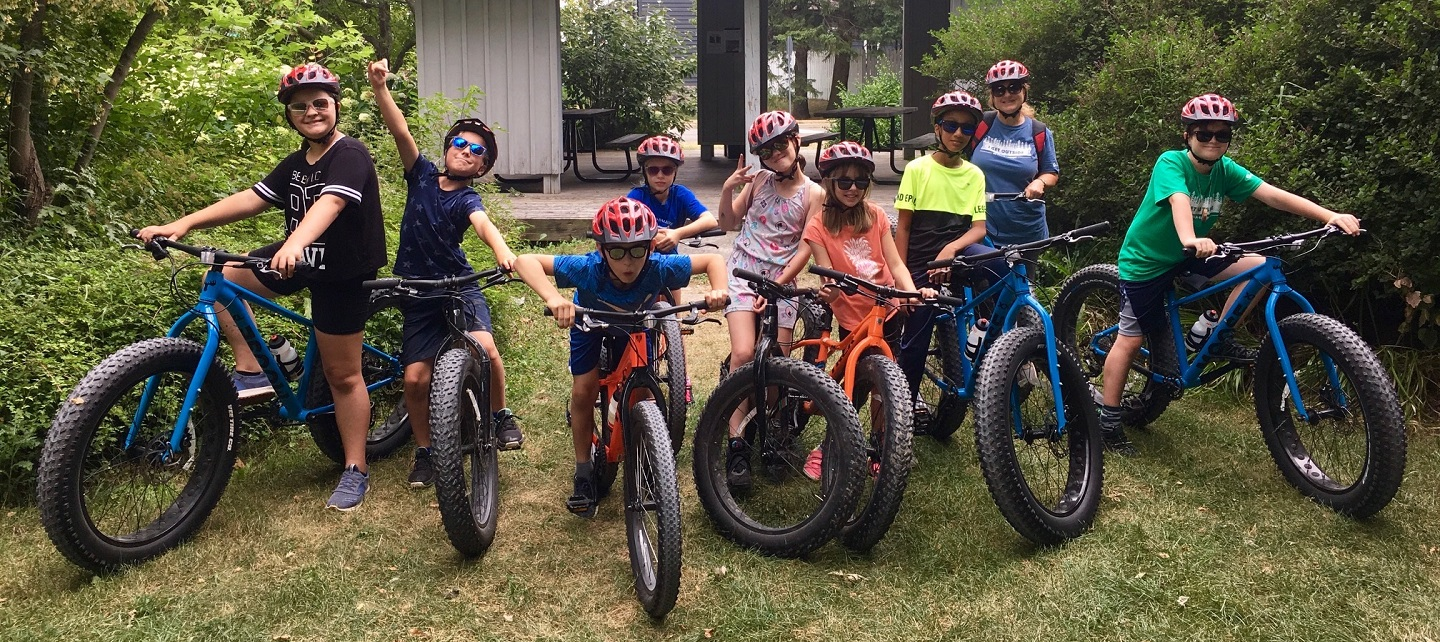 campers ride fat tire bikes at Albion Hills Field Centre