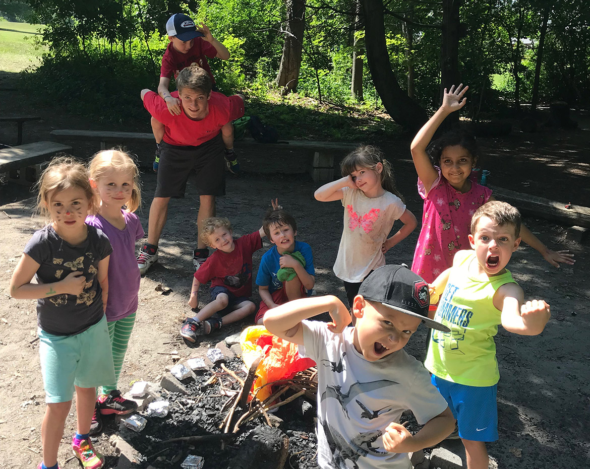children pose for group photo at Albion Hills summer nature camp