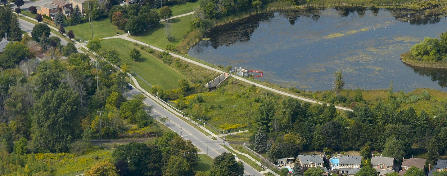 aerial view of Stouffville Dam and reservoir