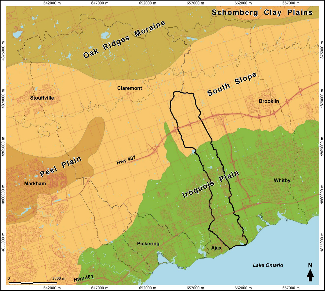 map of physiogeographic regions within Carruthers Creek watershed study area