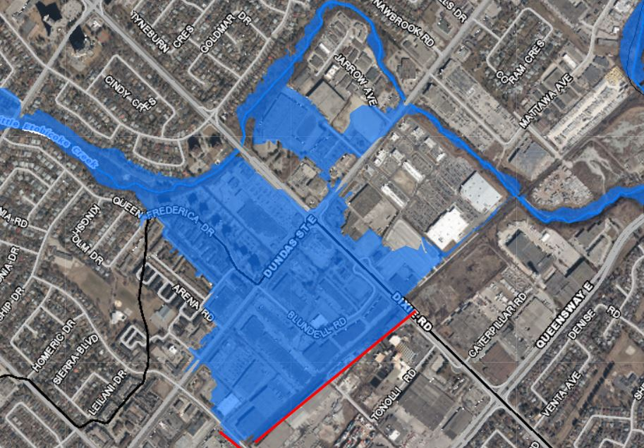 map of floodplain in Dixie Dundas area of Mississauga