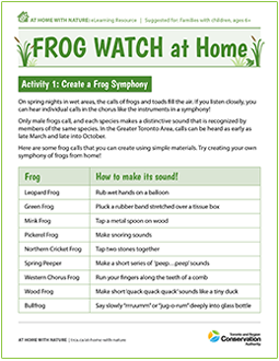 cover page of Frog Watch e-learning worksheet