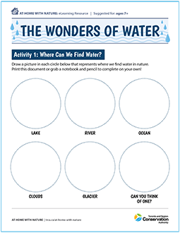cover page of The Wonders of Water e-learning worksheet