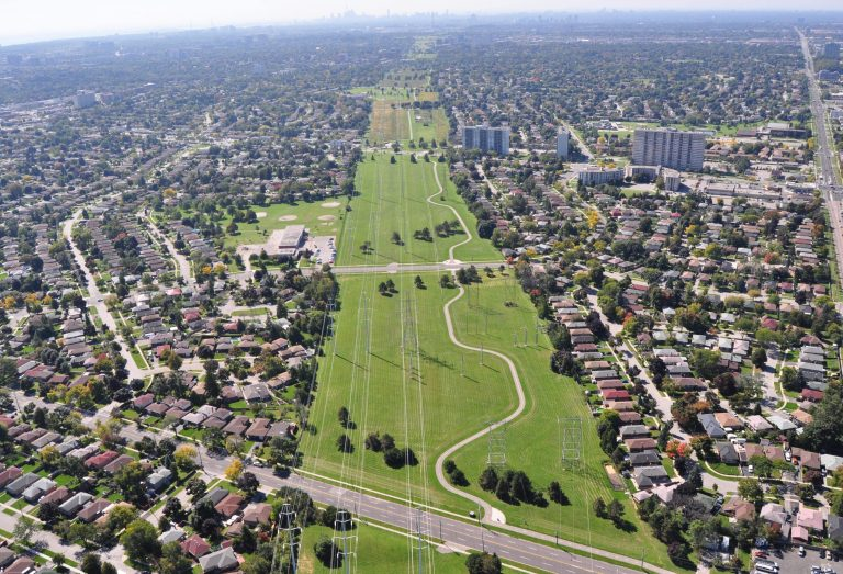 aerial view of The Meadoway hydro corridor
