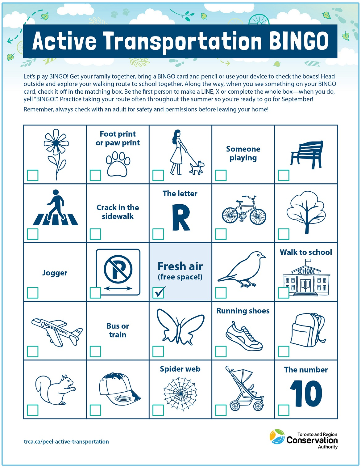 active transportation bingo card number one