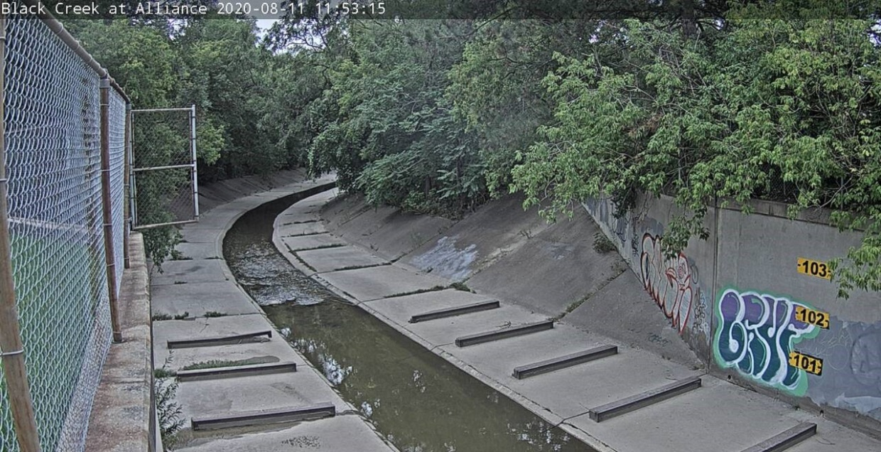 live camera view from stream gauge at Black Creek and Alliance Avenue