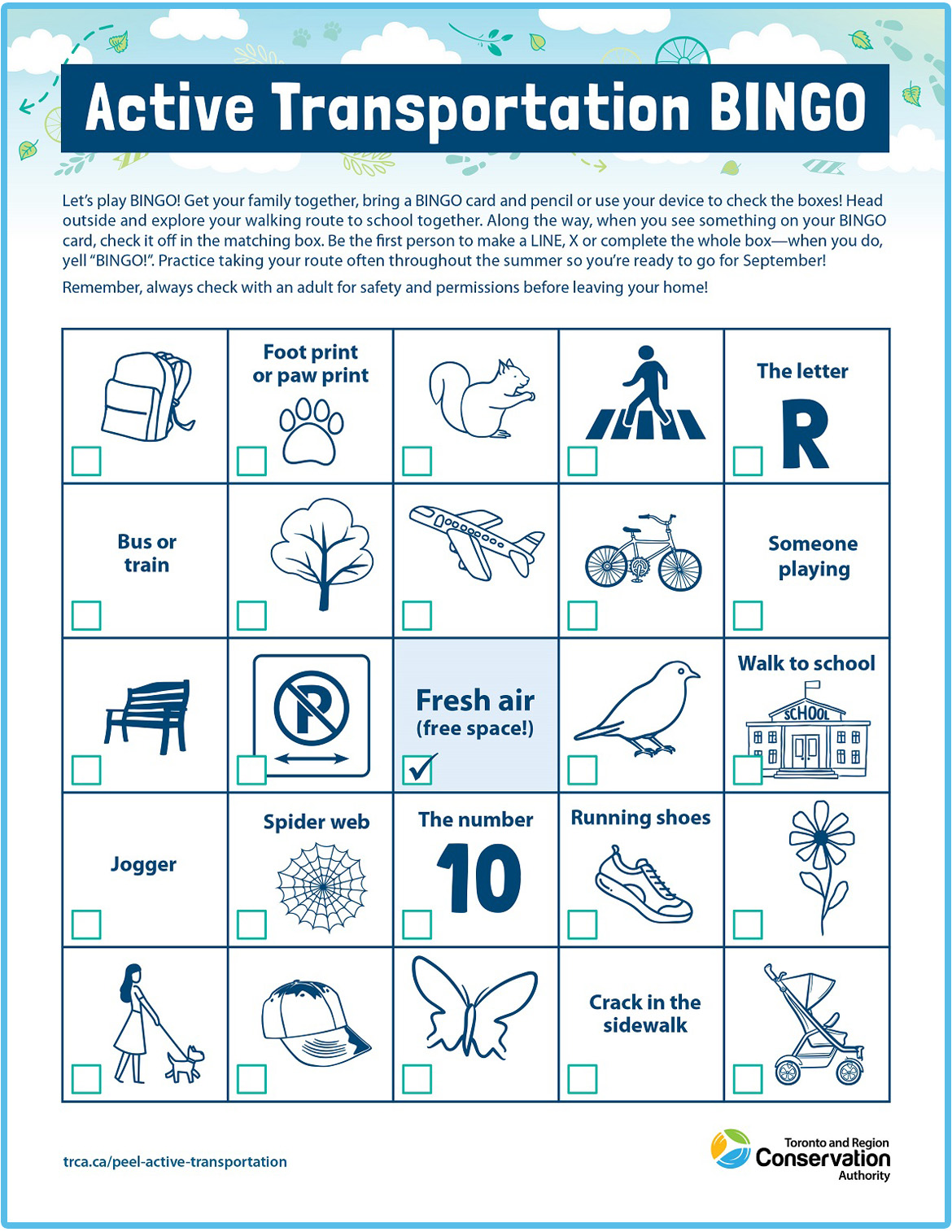 Active Transportation bingo card number two