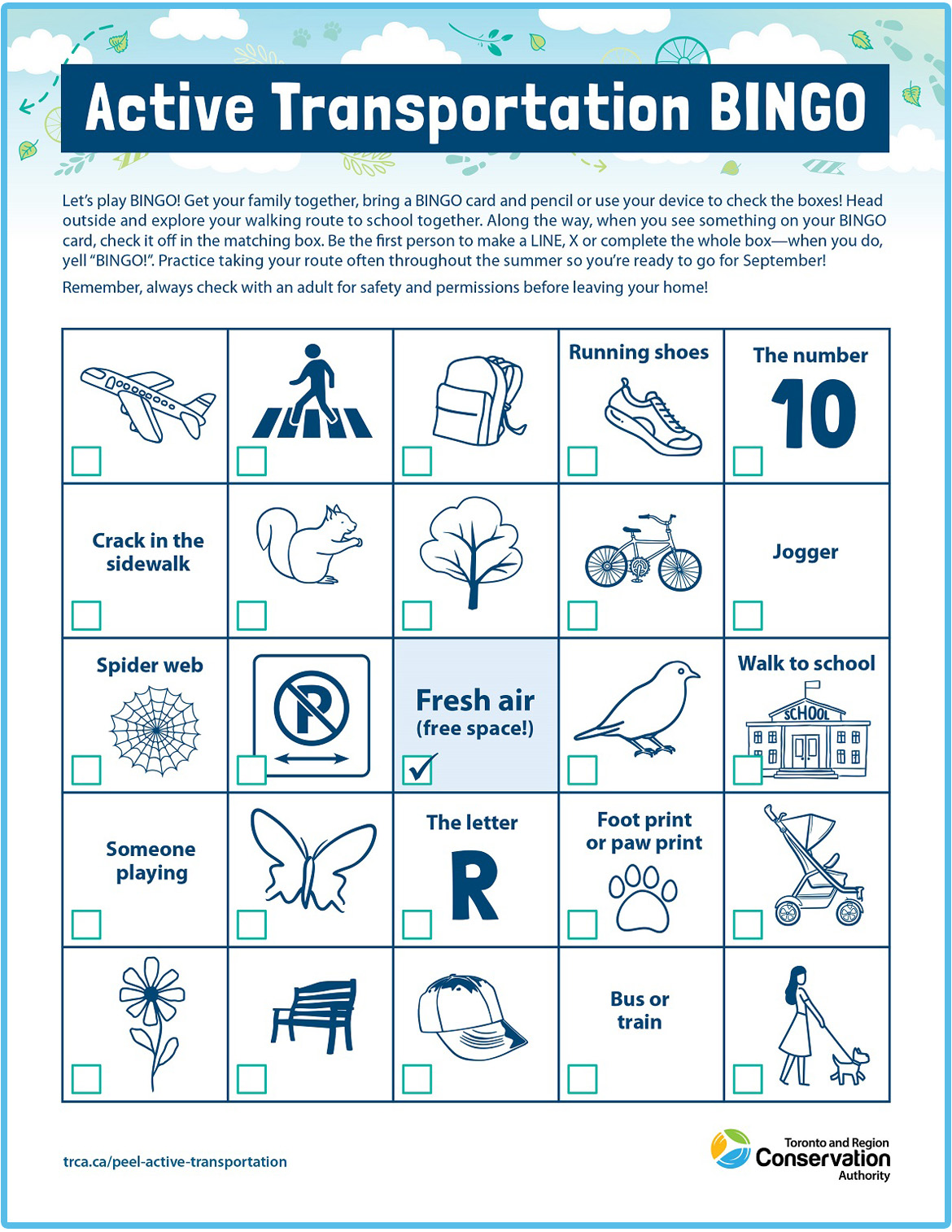 active transportation bingo card number three