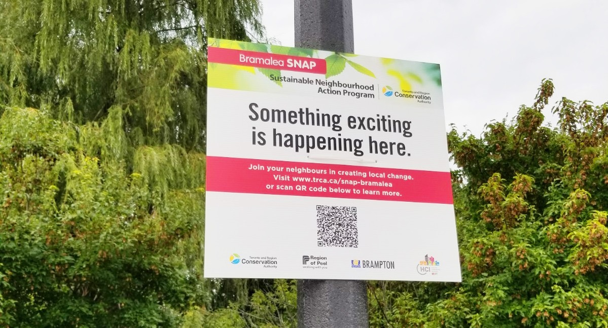 sign attached to light standard promotes Bramalea SNAP neighbourhood project